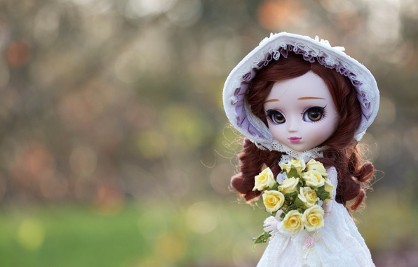 Picture toy, bouquet, hat, doll, hat