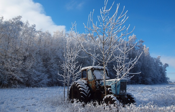 Picture winter, field, trees, landscape, nature, tractor