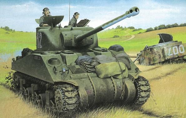 "Picture field, figure, art, tank, WW2, tankers, with a 76-mm gun ""Sherman"", M4A1(76)W us"