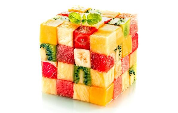 Picture cubes, pieces, cube, fruit, design, fruits, cube