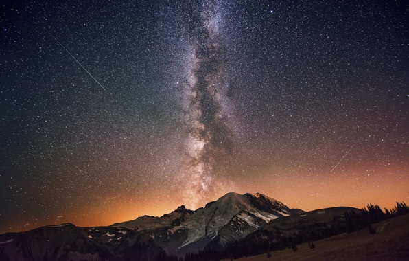 Picture the sky, stars, mountains, night, the milky way