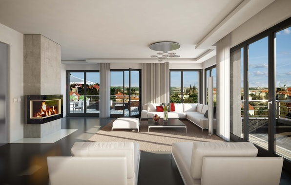 Picture design, style, interior, fireplace, penthouse, terrace, living room, living space