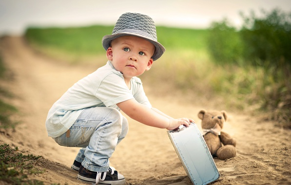Picture road, toy, boy, bear, suitcase, child