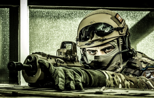 Picture gun, soldier, eyes, assault rifle, uniform, equipment