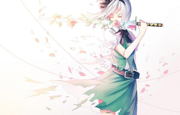 Picture girl, flowers, weapons, katana, anime, petals, Sakura, art, touhou, konpaku youmu, ling, vivianling