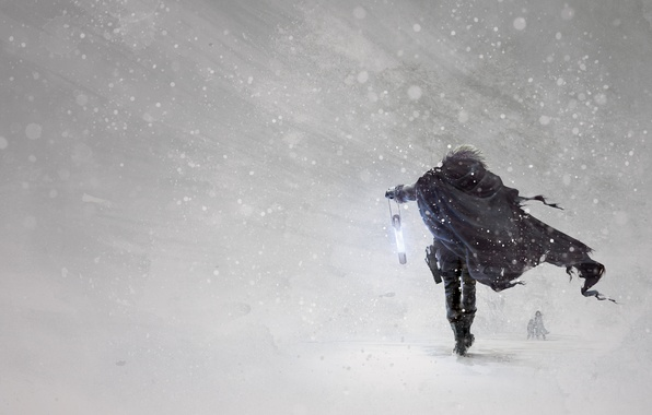 Picture winter, snow, weapons, art, hero, flashlight, cloak, Blizzard, Blizzard, art, Blizzard