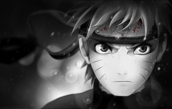 Picture look, character, blood, black and white, symbol, headband, Naruto, Naruto