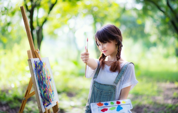 Picture girl, mood, paint, Asian