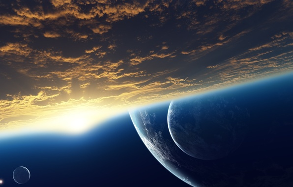 Picture space, clouds, dawn, star, planet, the atmosphere