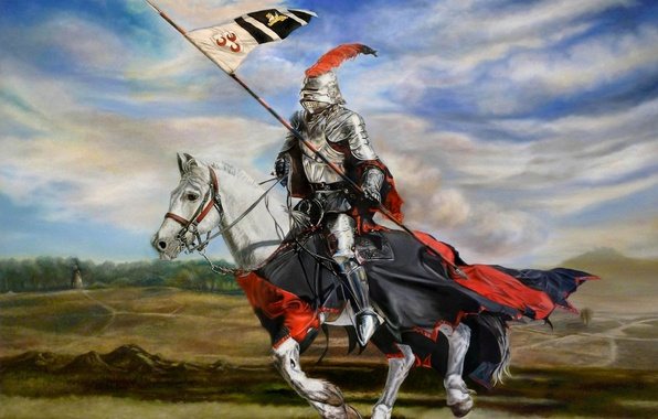 Picture figure, armor, art, knight, spear, armor, horse, pennant, jumping