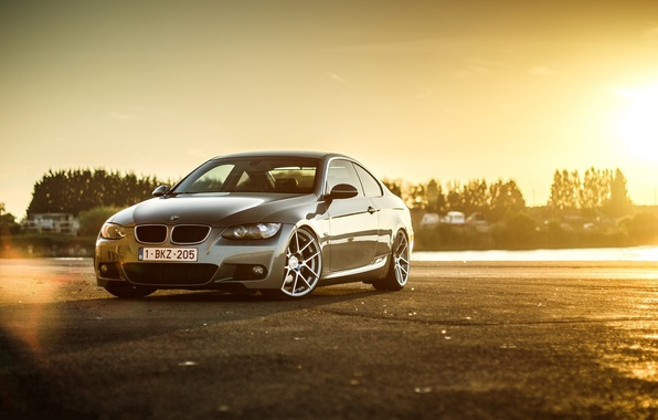 Picture sunset, grey, bmw, BMW, coupe, grey, e92, 330d