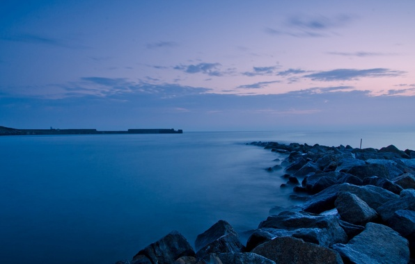 Picture sea, the sky, landscape, nature, river, stones, background, the ocean, widescreen, Wallpaper, the evening, wallpaper, …