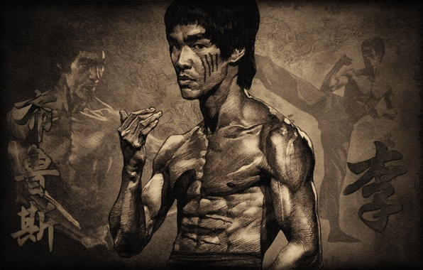 Picture actor, male, torso, stand, muscles, Bruce Lee, brucee lee