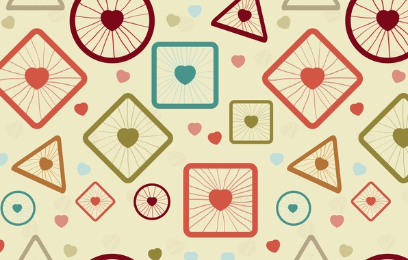 Picture balls, abstraction, cubes, texture, hearts, figure