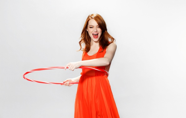 Picture joy, background, mood, dress, actress, brown hair, in red, 2011, photoshoot, wrap, Emma Stone, Emma …