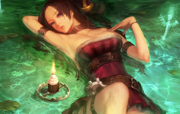 Picture water, girl, candle, lies, League of Legends, Caitlyn, LoL