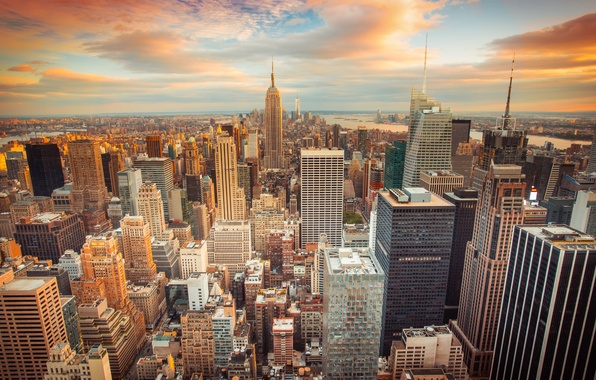 Picture the city, USA, USA, New York, skyscrapers, sunset, New York City, buildings, downtown, skyscrapers