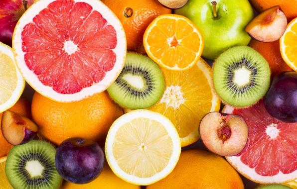 Picture apples, oranges, kiwi, fruit, fresh, grapefruit, fruits, berries