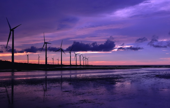 Picture sea, the sky, water, clouds, sunset, reflection, shore, The evening, windmills, lilac