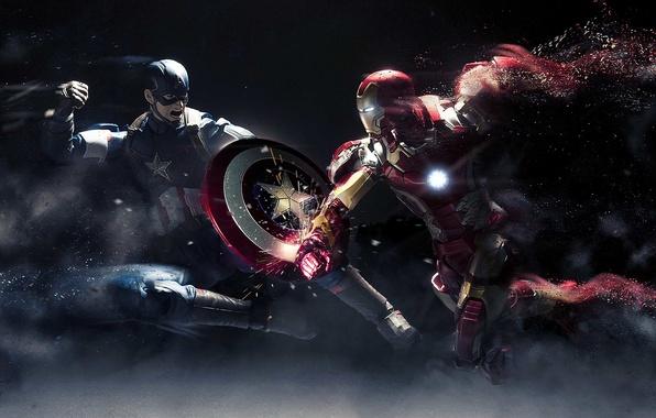 Picture toys, combat, Iron Man, Captain America, Civil War