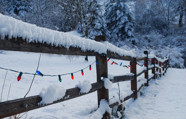 Picture winter, light, snow, nature, lights, holiday, the fence, Christmas, New year, Happy New Year, nature, …