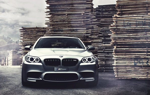 Picture bmw, BMW, the front, f10, matte grey, grey matte, running lights