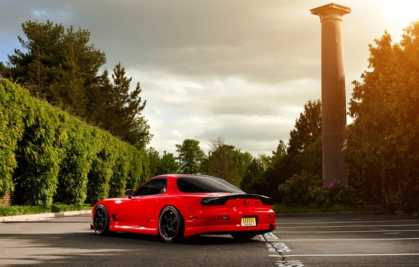 Picture the sun, trees, Parking, red, Mazda, Blik, red, column, Mazda, RX-7