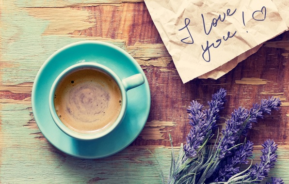 Picture letter, foam, flowers, table, coffee, mug, drink, recognition, saucer, lavender