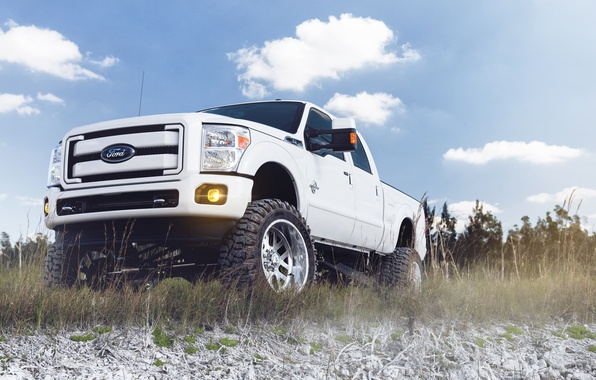 Picture white, the sky, clouds, Ford, SUV, white, Ford, pickup, front, F-250