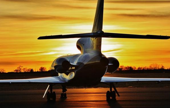 Picture sunset, the plane, jet, 900, administrative, Dassault Falcon