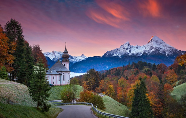 Picture road, autumn, trees, sunset, Germany, Bayern, Church, Germany, Bavaria, Bavarian Alps, The Bavarian Alps, Berchtesgaden, ...