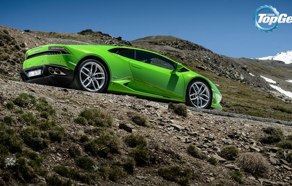 Picture Lamborghini, Top Gear, Green, Supercar, Rear, Huracan, LP610-4, Mountain Road