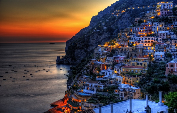 Picture sea, sunset, mountains, lights, rocks, coast, home, boats, the evening, Italy, glow, Positano