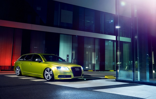 Picture green, low, stance, canibeat, Audi A6, stancenation