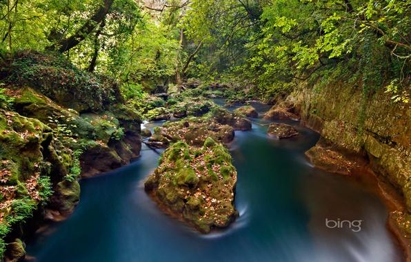 Picture forest, river, stones, Greece, Greece, Ioannina, Epirus, Epirus, Thyamis River