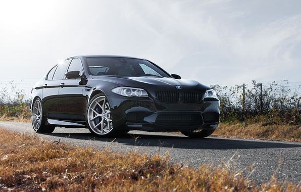 Picture the sky, clouds, black, BMW, BMW, black, front view, f10