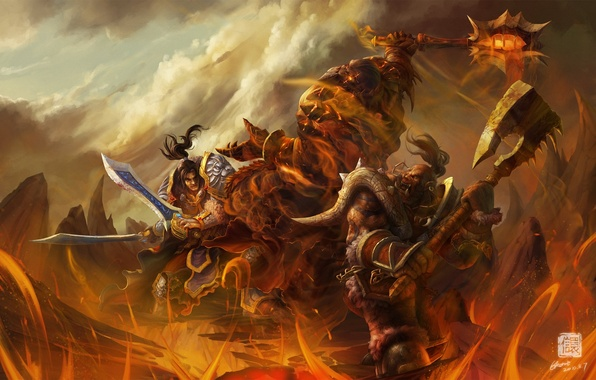 Picture weapons, rocks, fire, monster, warrior, art, lava, World of Warcraft, battle, Orc, wow