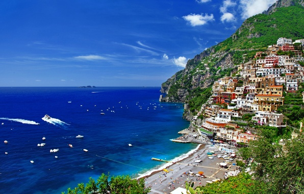 Picture sea, trees, mountains, nature, people, coast, home, Italy, Italy