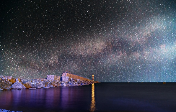 Picture space, stars, night, space, stones, shore, lighthouse, the milky way