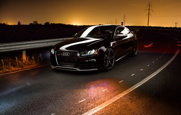 Picture night, audi, black, rs5
