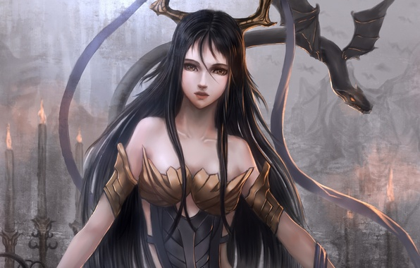 Picture girl, tape, dragon, wings, anime, art, horns, sunday-zjy