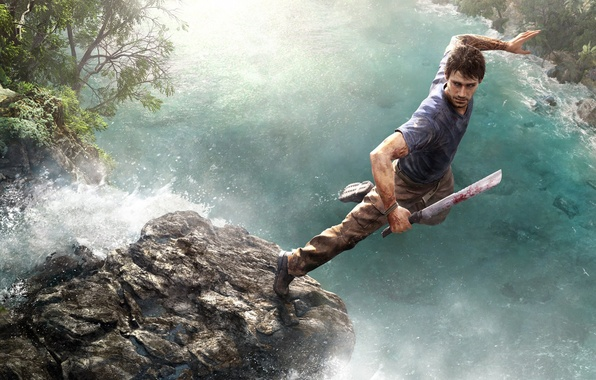 Picture water, jump, blood, stone, waterfall, warrior, tattoo, jungle, Ubisoft, machete, Far Cry 3, the protagonist, …