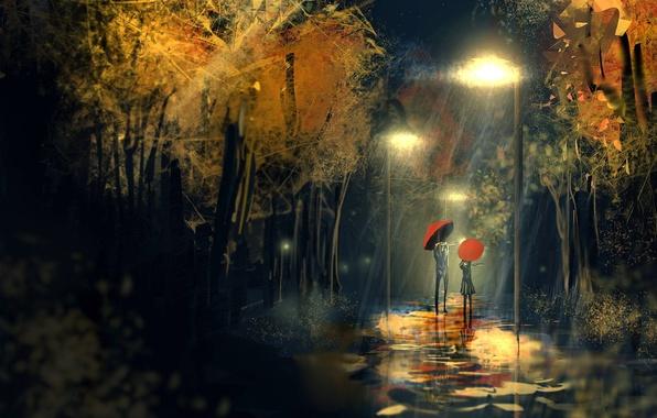 Picture woman, umbrella, Rain, lantern, male
