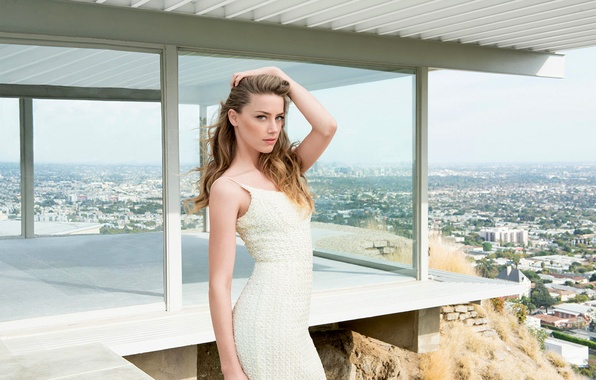 Picture girl, the city, white, view, building, home, dress, actress, blonde, panorama, Amber Heard, Amber Heard