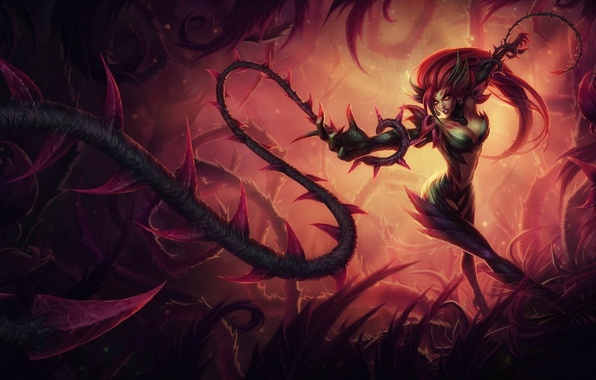 Picture girl, weapons, spikes, vines, league of legends, zyra