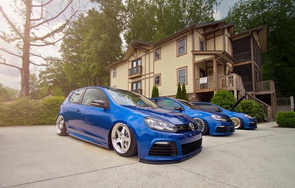Picture blue, volkswagen, three, Golf, blue, Volkswagen, golf R
