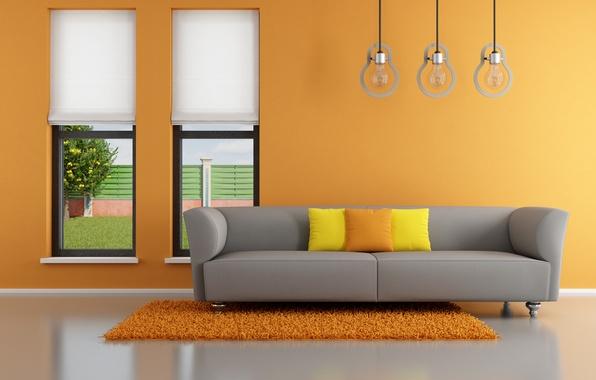 Picture orange, sofa, interior, pillow, window, orange, living room, window, living room, interior, couch, pillows, Minimalism, …