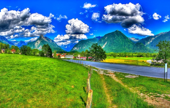 Picture road, grass, clouds, trees, mountains, the fence, field, HDR, home, Slovenia, Bovec, Tolmin
