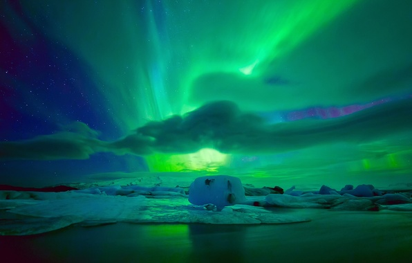 Picture the sky, stars, clouds, night, Northern lights, ice, ice