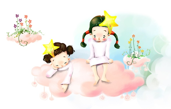 Picture flowers, children, figure, stars, barefoot, cloud, braids